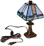 Dale Tiffany 8706 Tranquility Mission Mini Table Lamp - Antique Brass and Art Glass Shade
