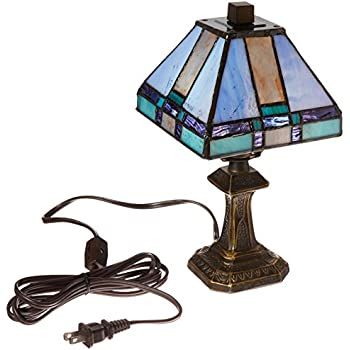 Tiffany jeweled peacock mini table lamp table lamps amazon dale tiffany 8706 tranquility mission mini table lamp antique brass and art glass shade aloadofball Images