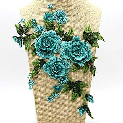FDGBCF Bordado Opcional Collar de Encaje Perlas de Perlas Apliques de Flores 3D Ropa de Boda decoración Boutonniere Parches,6