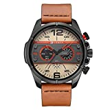 Men's Watch by Randon Unique Design Military Leather Strap Analog Quartz Sports Waterproof Wrist Watches