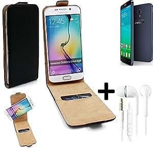 TOP SET: Caso Smartphone para Alcatel One Touch Idol 2 S cubierta del estilo del tirón 360°, negro + Auriculares, cubierta del tirón - K-S-Trade   Funda Universal Caso Monedero cubierta del tirón Monedero Monedero
