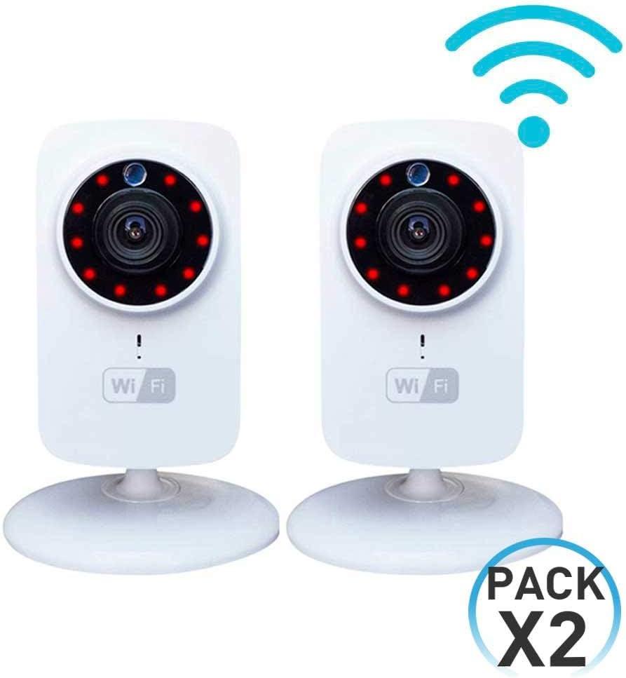 Pack 2 Cámaras de Seguridad Inteligentes WiFi con Altavoz y Visión Nocturna vía Smartphone/App 7hSevenOn Elec
