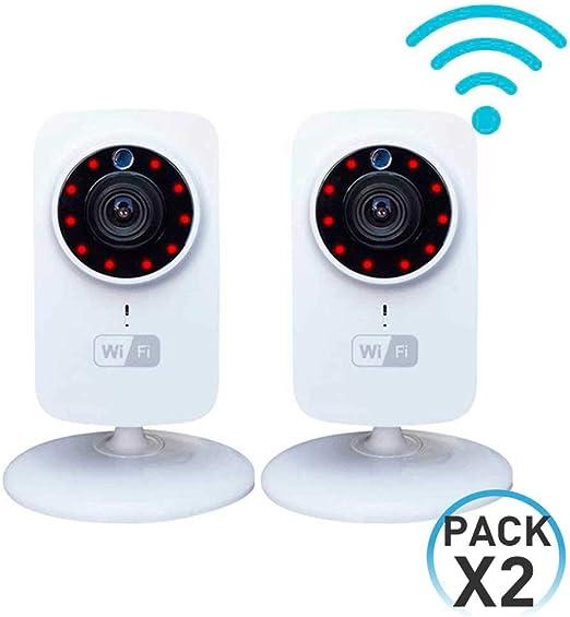 Pack 2 Cámaras de Seguridad Inteligentes WiFi con Altavoz y Visión Nocturna vía Smartphone/App 7hSevenOn Elec: Amazon.es: Hogar