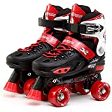 UK 11 - 1 Red Small Childs Adults 4 Wheel Kids Adjustable Quad Roller Skates Boots