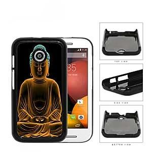 Buddha Statue In Orange Cyan Neon Hard Plastic Snap On Cell Phone Case Motorola Moto E