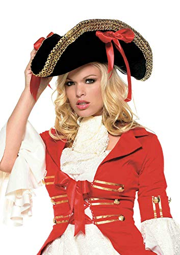 Leg Avenue Men's Pirate Hat with Gold Trim, black/Red, One Size (Leg Avenue Hat)