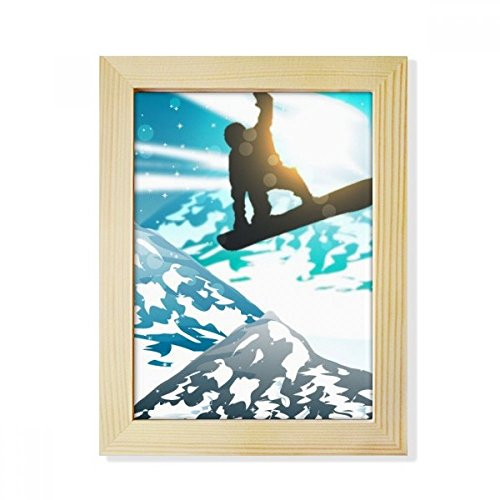 DIYthinker Winter Sport Skiing Skis Watercolor Desktop Wooden Photo Frame Picture Art Painting 6x8 inch