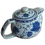 Blue Peony Porcelain Tea Set Ceramic Teapot with Infuser Chinese Kung Fu Tea Pot by I-Mart