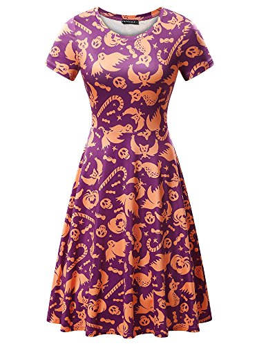Halloween Dress, FENSACE Womens Spider Skull Flying Bats Cat Horror keleton Dress (Horror Dress)