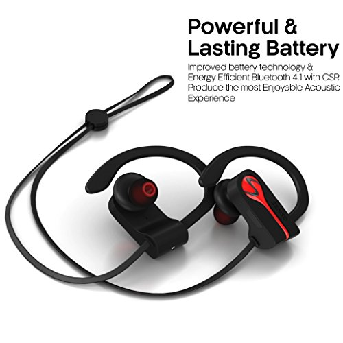 SENSO Bluetooth Wireless Headphones, Best Sports Earphones w/Mic IPX7 Waterproof HD Stereo Sweatproof Earbuds for Gym Running Workout 8 Hour Battery Noise Cancelling Headsets Hifi Cordless Headphones by Senso (Image #5)