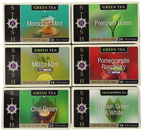 Спрятать чай Зеленый чай Six Аромат Ассортимент, 18-20 Граф пакетиков в фольге (в упаковке 6)