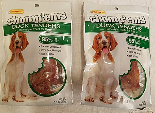 - Duck Tenders Homestyle for Dogs 95% Fat Free 2 Packs, 3.0 oz.each bag