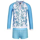 Sun Emporium Baby Girls Blue Paisley Print Jacket 2 Pc Boyleg Swim Set 6-12M