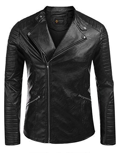 Wholesale COOFANDY Men's Slim Vintage Stand Collar Faux Leather Moto Biker Short Coat Jacket supplier