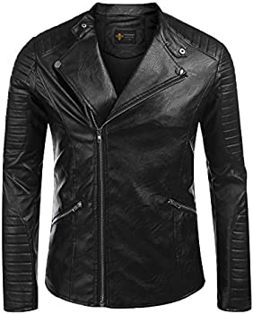 Coofandy Men's Slim Vintage Stand Collar Faux Leather Jacket