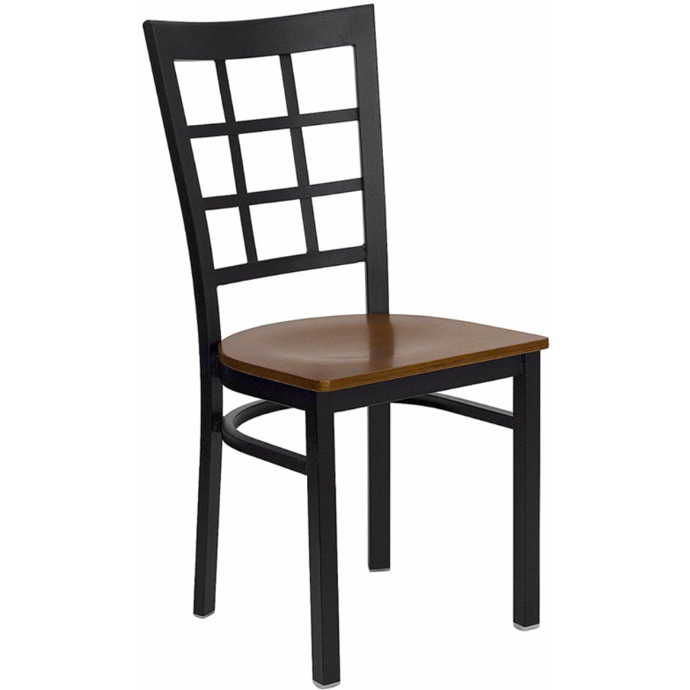 Offex Black Window Back Metal Restaurant Chair with Cherry Wood Seat
