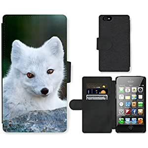 Hot Style Cell Phone Card Slot PU Leather Wallet Case // M99999981 Fox Animal Pattern // Apple iPhone 4 4S 4G