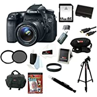 Canon EOS 70D SLR CMOS 20.2MP Digital Camera EFS 18-55mm Lens + 64GB Memory Card + Tiffen 58mm UV & CP Filters + Extra Battery + Accessory Kit Benefits Review Image