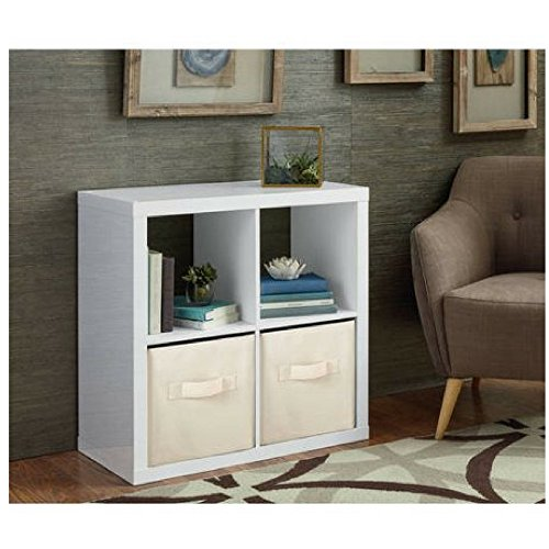 Better Homes and Gardens Bookshelf Square Storage Cabinet 4-Cube Organizer (High Gloss White Lacquer)