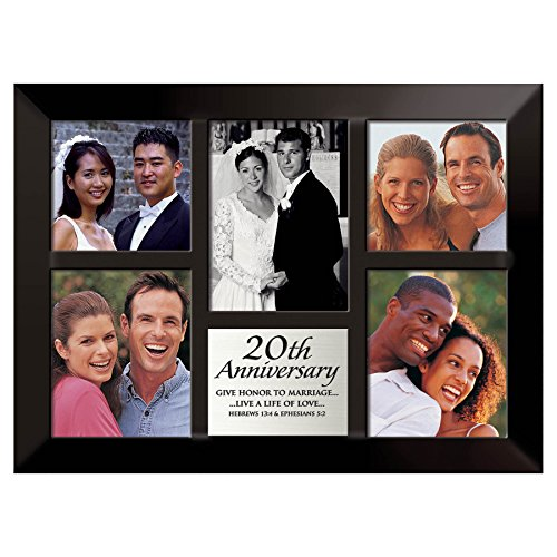 - Lighthouse Christian Products Black with Brushed Silver Plate 20th Anniversary Frame, 10 1/2 x 14 1/4
