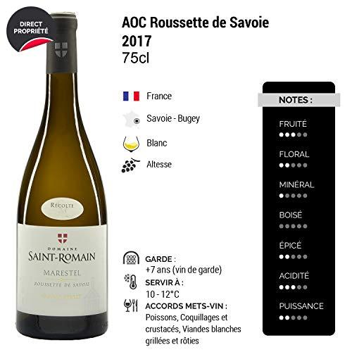 Roussette-de-Savoie-cru-Marestel-Blanc-2017-Domaine-Saint-Romain-Vin-AOC-Blanc-de-Savoie-Bugey-Cpage-Altesse-Lot-de-6x75cl