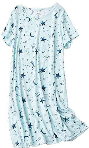 PNAEONG Women's Cotton Nightgown Sleepwear Short Sleeves Shirt Casual Print Sleepdress XTSY108-Blue Star-L