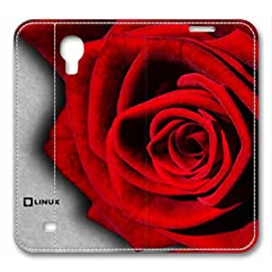 iCustomonline Fresh Red Rose Designed Leather for Samsung Galaxy S4 I9500 Case Cover Skin