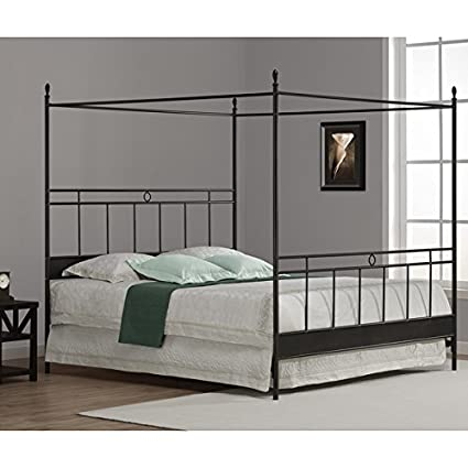 Amazon Com Rialto Black Metal Canopy Bed King Kitchen Dining