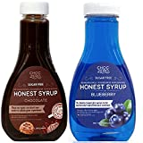 ChocZero's Chocolate Syrup and Blueberry Syrup. Sugar Free, Low Net Carb, No Preservatives. Gluten Free. No Sugar Alcohol. (2 Bottles)