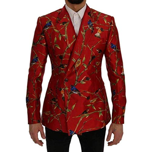 Dolce & Gabbana Red Bird Print Silk Slim Fit Blazer -