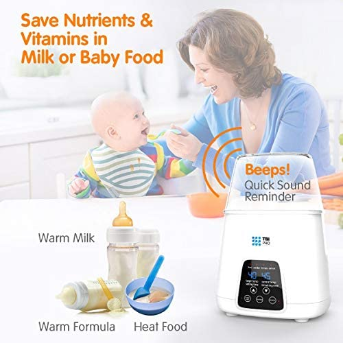 51GkO6CConL. AC - TBI Pro 5-in-1 Portable Fast Baby Bottle Warmer For Baby Milk Breastmilk - Bottle Sterilizer With Timer Safe Auto-Off Function - Two Bottles BPA-Free For Babies Infant Food Rapid Defrosting Heating