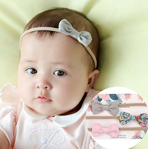 Fascia in nylon con fiocco per neonata o bambina piccola confezione da 3