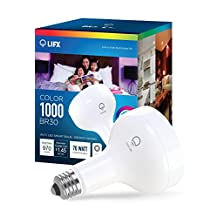 LIFX Color 1000 BR30 Wi-Fi Smart LED Light Bulb, Adjustable, Multicolor, Dimmable, No Hub Required, Works with Alexa