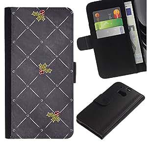 WINCASE ( No Para HTC ONE Mini 2) Cuadro Funda Voltear Cuero Ranura Tarjetas TPU Carcasas Protectora Cover Case Para HTC One M8 - muérdago gris amor navidad