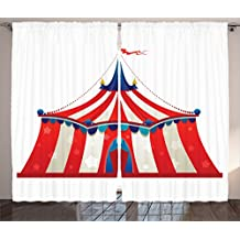 Ambesonne Circus Decor Collection, Colorful Striped Circus Marquee Tent with Stars Flag Carnival Performance Design, Window Treatments for Kids Girls Boys Bedroom Curtain 2 Panels Set, 108X84 Inches