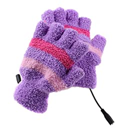 Eforstore Laptop Gloves USB Heated Half Finger Fingerless Winter Warm Hand Warmer Mittens for Women Girls (Purple)