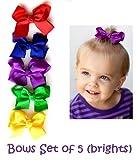 "Set of 5 bright 3.5"" grosgrain hair bows for baby & girl"