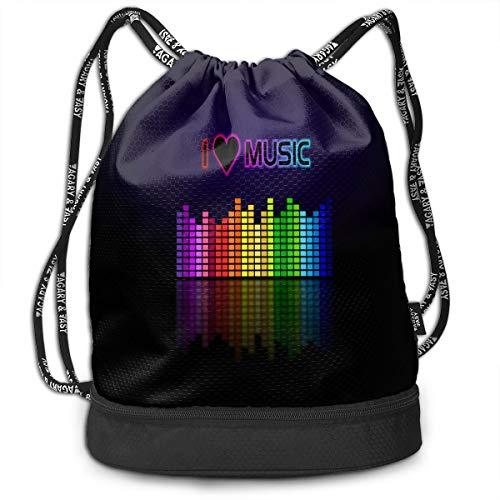Drawstring Bag I LOVE MUSIC Womens Gym Backpack Cool Mens Travel Canvas Bags For Unisex from HUVATT