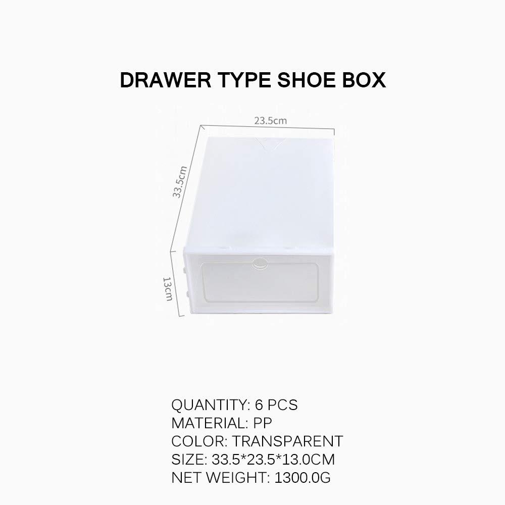 13.0cm TopHGC Caja de Zapatos 6 Piezas Caja de Almacenamiento de Zapatos de pl/ástico Transparente Organizadores de Zapatos Plegables y apilables 33.5 23.5