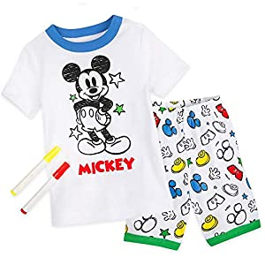 Disney Mickey Mouse Colorable Pajama and Marker Set for Boys