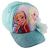 Disney Little Girls Frozen Elsa and Anna Cotton Baseball Cap, Blue, Age 4-7