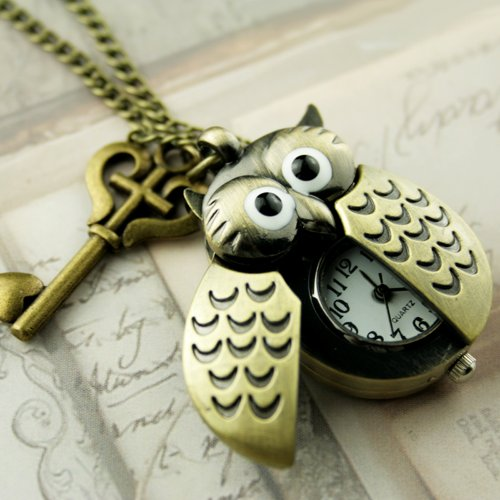 Steampunk Pocket Watch Necklace Pirate Gothic Victorian Pendant Charm Cute Owl Watch with Vintage Key SET