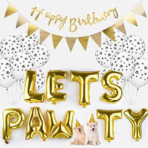 Legendog Dog Birthday Party Supplies Dog Paw Print Balloons Cat Birthday Hat Happy Birthday Banner Foil Balloons Lets Pawty Letters Balloons Decorations]()