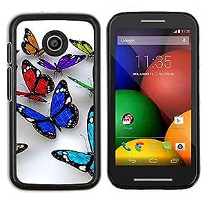 YiPhone /// Prima de resorte delgada de la cubierta del caso de Shell Armor - Butterfly 3D Naturaleza Blanca Limpieza de Primavera - Motorola Moto E