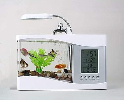 Mini Acuario USB Peces De Escritorio/Tanque De Peces Pequeños con LED Reloj,White