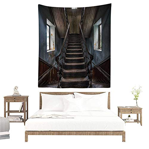 - Wall Tapestries Hippie,Scary Decor,Horror Movie Classic Deserted Abandoned Home with Old Vintage Stairs Artwork,Multicolor W47 x L63 inch Tapestry Wallpaper Home Decor