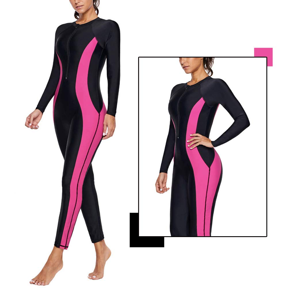 Womens Full Wetsuits Long Sleeve One Piece Diving Suit with Front Zip