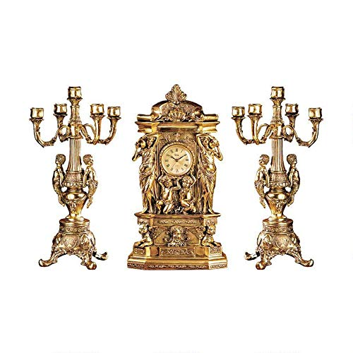 Design Toscano Chateau Chambord Clock and Candelabra Ensemble, 20 Inch, Complete Set of 3 Pcs, Polyresin, Gold from Design Toscano