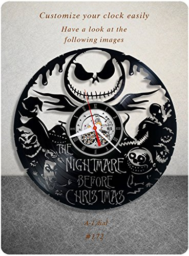 The Nightmare Before Christmas vinyl clock, vinyl wall clock, walt disney pictures vinyl record clock tim burton dark fantasy kids clock wall art gift 172 – a1