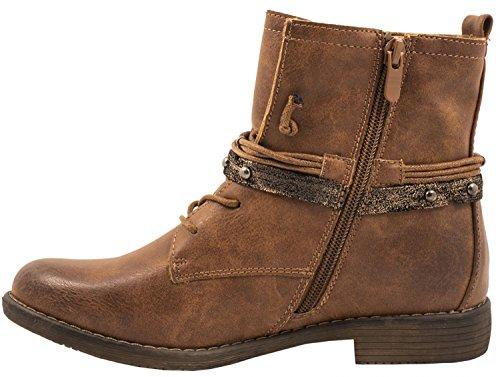 Elara Damen Biker Boots | Metallic Prints Schnallen | Nieten Stiefeletten Lederoptik | Gefüttert | chunkyrayan Camel
